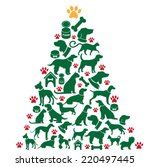 Stock vector cartoon dogs and cats christmas tree eps vector 220497445