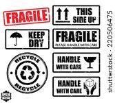set of fragile sticker handle... | Shutterstock .eps vector #220506475