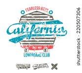 longboard retro emblem graphic... | Shutterstock .eps vector #220507306