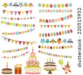 color birthday bunting set | Shutterstock .eps vector #220515952