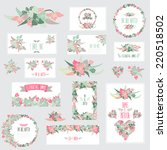 elegant cards with floral... | Shutterstock . vector #220518502