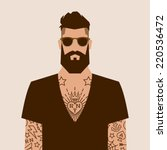 flat cartoon hipster character  ...