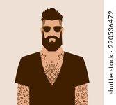 flat cartoon hipster character  ... | Shutterstock .eps vector #220536472