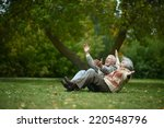 beautiful happy old people... | Shutterstock . vector #220548796