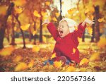 happy little child  baby girl... | Shutterstock . vector #220567366