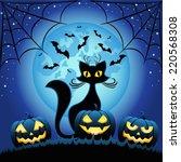 Cat And Halloween Pumpkins...