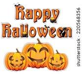 happy halloween sign on wooden...   Shutterstock .eps vector #220568356