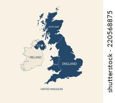united kingdom map  uk map  | Shutterstock .eps vector #220568875