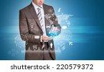 businessman in suit hold empty... | Shutterstock . vector #220579372