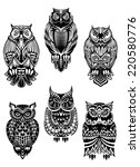 Stock vector isolated owl birds in tribal style for mascot tattoo or wildlife concept 220580776