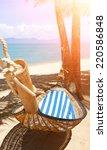 romantic cozy hammock | Shutterstock . vector #220586848