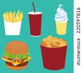 fast food vector isolated set.... | Shutterstock .eps vector #220597816