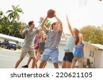group of young friends playing... | Shutterstock . vector #220621105