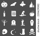 vector set of white halloween... | Shutterstock .eps vector #220629082