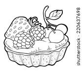 coloring book  cake  | Shutterstock .eps vector #220637698