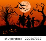 halloween background with... | Shutterstock .eps vector #220667332