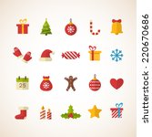 Set of flat Christmas icons