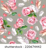rose flowers  feathers and... | Shutterstock . vector #220674442