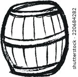doodle wooden barrel | Shutterstock .eps vector #220684282