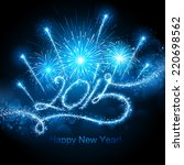 new year's fireworks 2015 | Shutterstock .eps vector #220698562