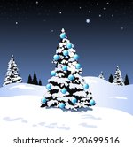 christmas tree snow scene with... | Shutterstock .eps vector #220699516