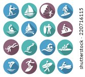 water sports white icons set...   Shutterstock .eps vector #220716115