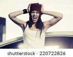 angry fashion woman shouting at ... | Shutterstock . vector #220722826