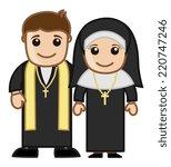 priest and nun   vector... | Shutterstock .eps vector #220747246