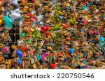 bunch of colored padlocks left... | Shutterstock . vector #220750546