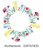 watercolor field flowers frame. ... | Shutterstock .eps vector #220767652
