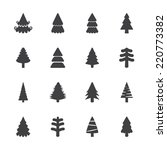 Christmas Tree Icon Set  Vecto...
