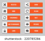 flat orange buttons set