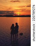 girlfriend on the beach having... | Shutterstock . vector #220789276