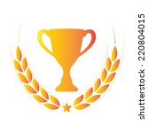 laurel wreath and trophy cup.... | Shutterstock .eps vector #220804015