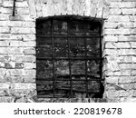 boarded up window with a grille ... | Shutterstock . vector #220819678