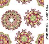 ornate flowers seamless texture   Shutterstock .eps vector #220845262