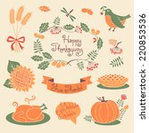 happy thanksgiving set of... | Shutterstock .eps vector #220853536