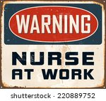 vintage metal sign   warning... | Shutterstock .eps vector #220889752