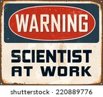 vintage metal sign   warning... | Shutterstock .eps vector #220889776