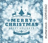 christmas retro typography and... | Shutterstock .eps vector #220910362