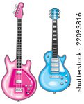 blue guitar   pink bass   Shutterstock .eps vector #22093816