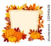 Vector Card With Pumpkins And...