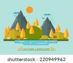 flat autumn nature landscape... | Shutterstock .eps vector #220949962