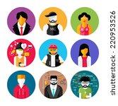 set of stylish avatar of male... | Shutterstock . vector #220953526