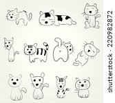hand draw cartoon cat icon | Shutterstock .eps vector #220982872
