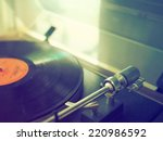record vinyl on turntable in... | Shutterstock . vector #220986592