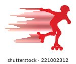 roller skating silhouettes... | Shutterstock .eps vector #221002312