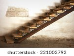 Wooden Stairs Up And Old Ragge...