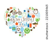 healthy lifestyle  diet and... | Shutterstock . vector #221005465