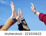 hands stretch in the height | Shutterstock . vector #221010622